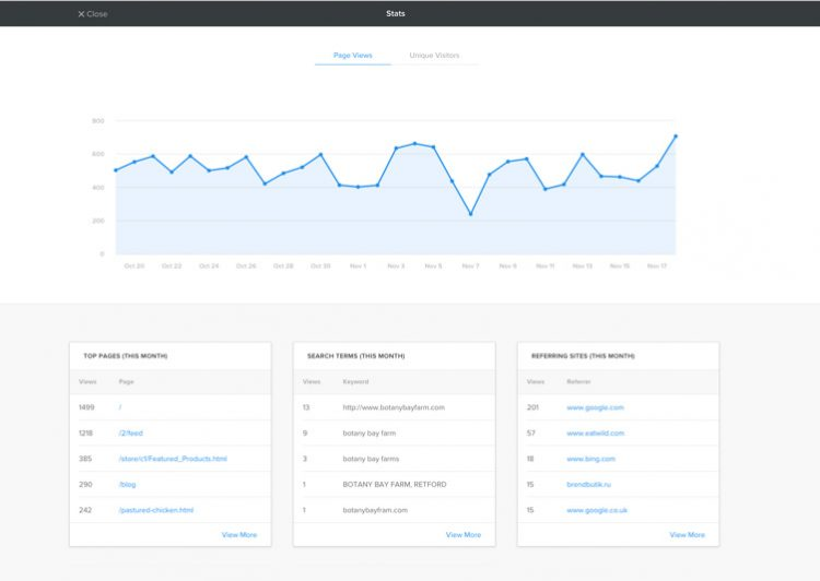 You can track visitors and understand your business performance using Weebly Statistics.