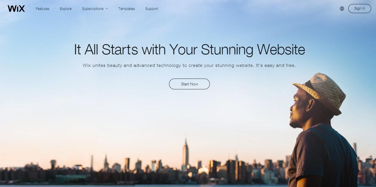 Wix почетна страница