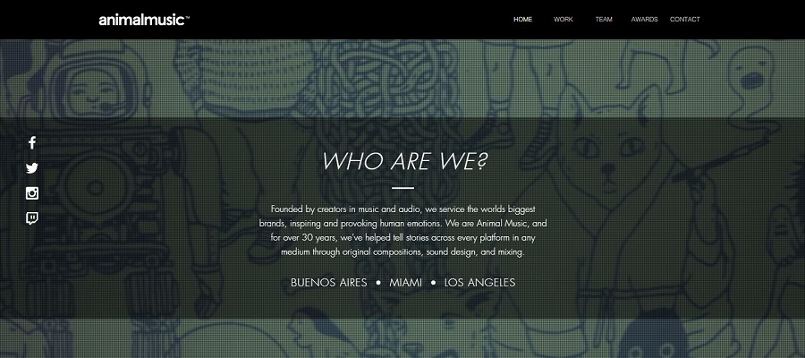 Portfolio website built with Wix - Animal Music