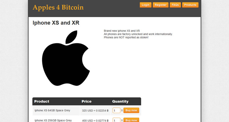 Dark Web Website - Apples 4 Bitcoin