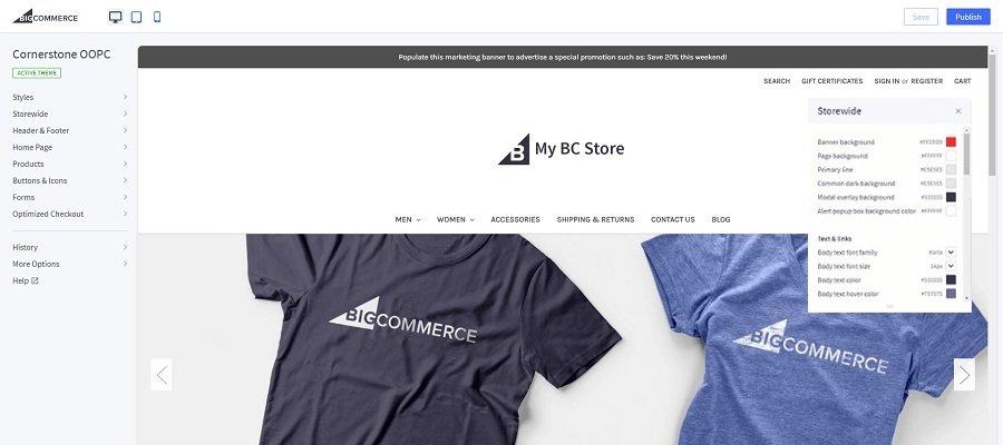 BigCommerce store editor