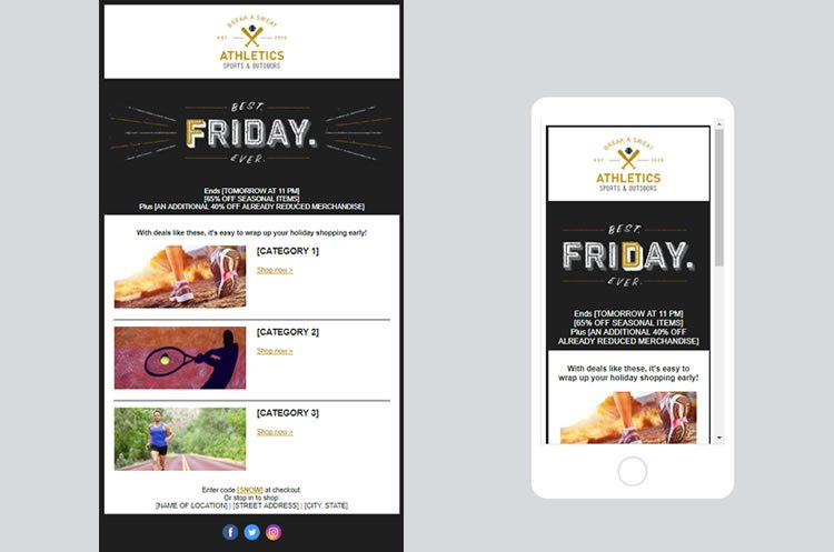 Constant Contact Email templates for the Black Friday marketing campaign