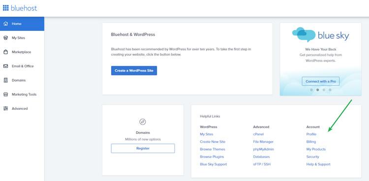 BlueHost User Dashboard
