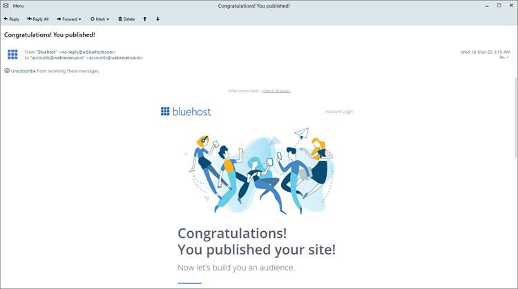 Correo electrónico de bienvenida de BlueHost