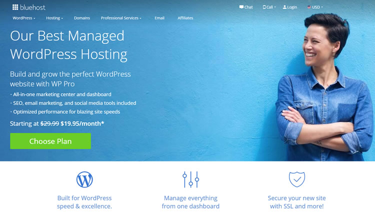 Plan de WordPress BlueHost