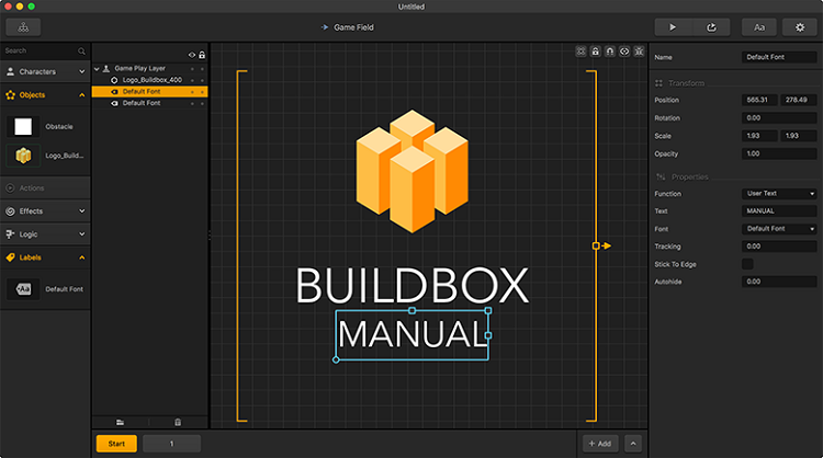 BuildBox - Example of game engine