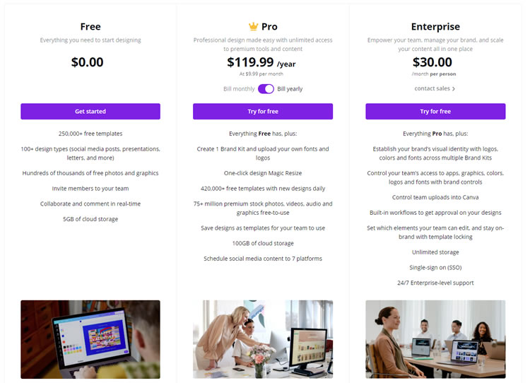 Canva Plans & Pricing