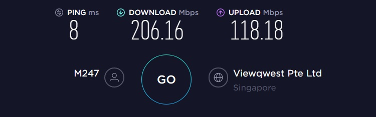 CyberGhost VPN speed test result from Singapore server. Ping=8ms, download=206.16Mbps, upload=118.18Mbps.