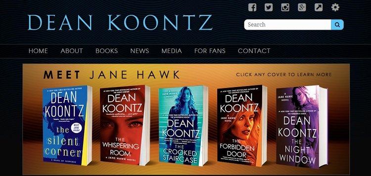 Situs web portofolio Dean Koontz