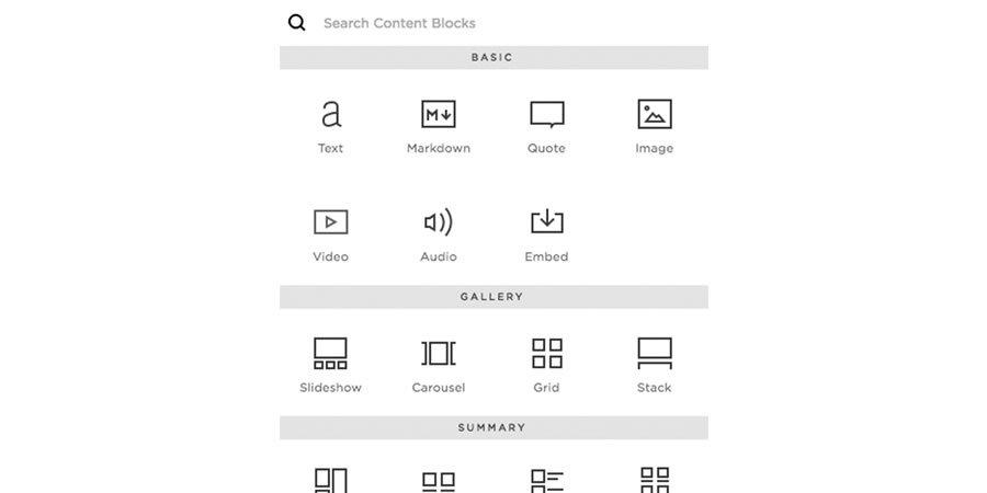 Einige der Designelemente, die Sie Ihrer Seite bei Squarespace hinzufügen können.