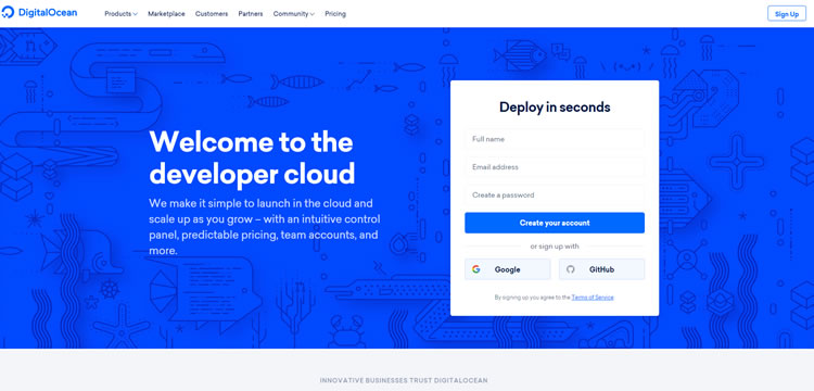 Digital Ocean cloud hosting services