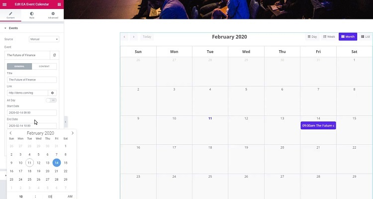 WordPress event calendar plugin for Elementor