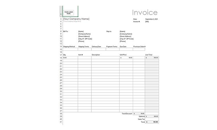 Excel Invoices