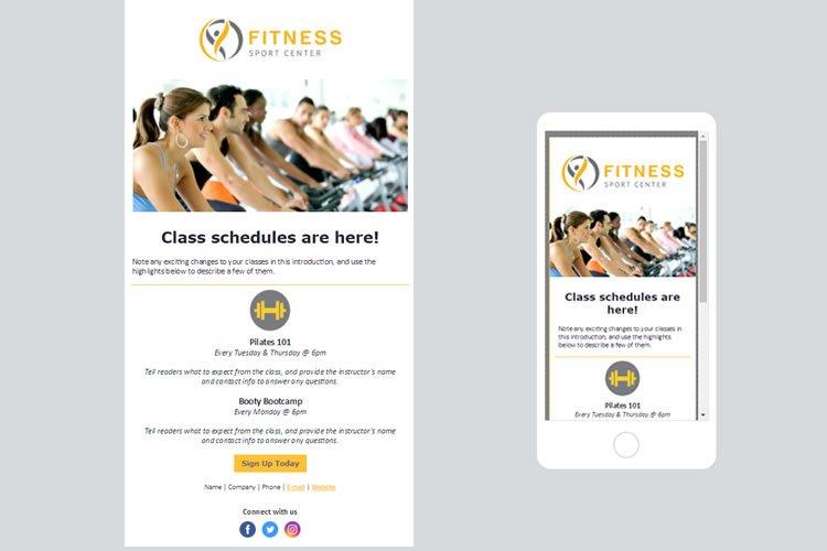 Fitness merkezleri / spor salonları için Sürekli İletişim e-posta şablonları.