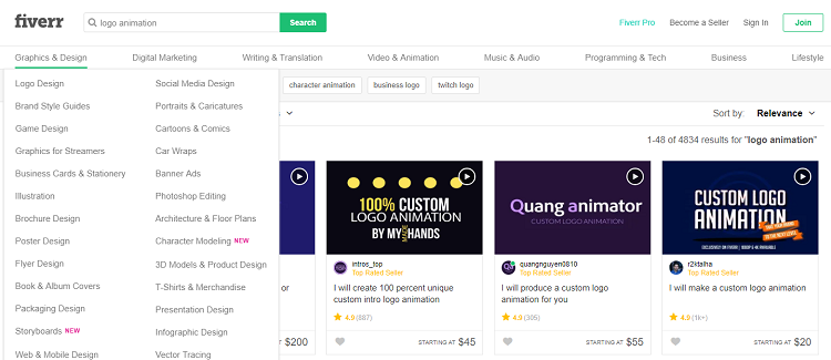 Fiverr uses a more direct style in talent search.