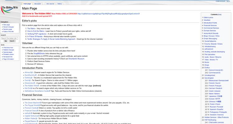 Dark Web-website - The Hidden Wiki