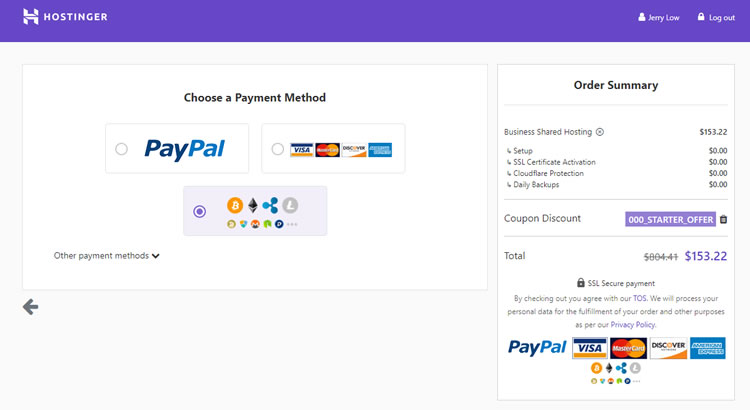 Hostinger allows for a wide variety of payment method.