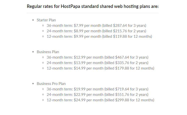Hostpapa regular rates