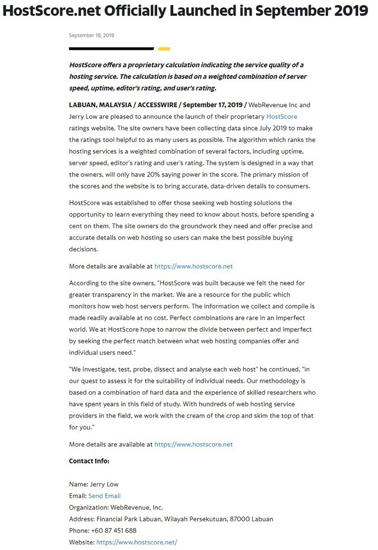 HostScore - Example of Press Release