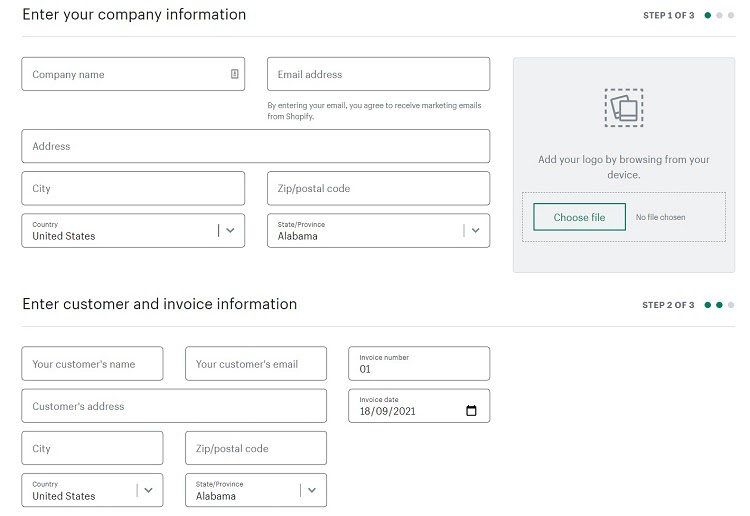 Shopify provides a comprehensive invoice generator that's free to use.