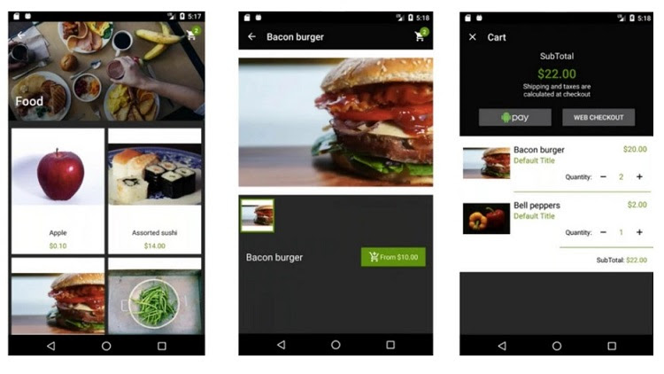 Shopify's Android SDK works with web checkout or Android Pay.