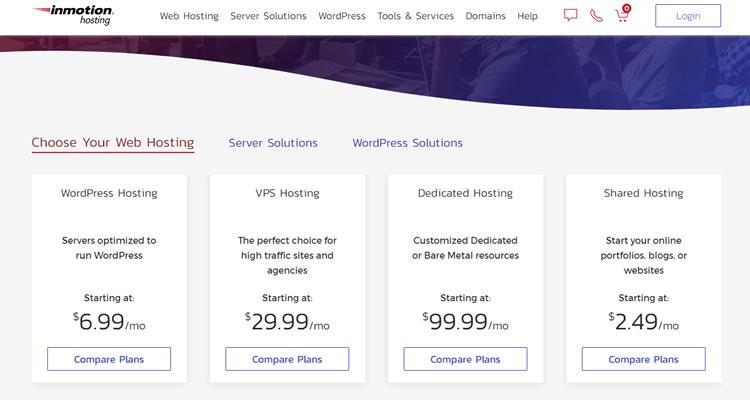 Diferentes planes de hosting en InMotion Hosting (precio actualizado).