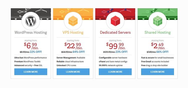 gamme complète d'options d'hébergement chez inmotion hosting