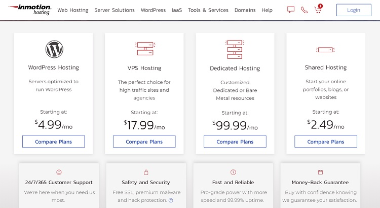 Different hosting plans at InMotion Hosting (updated price).