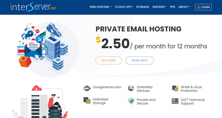 Interserver private email hosting starts at $2.50/mo