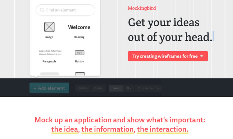 Mockingbird - Site Wireframe Design Tool