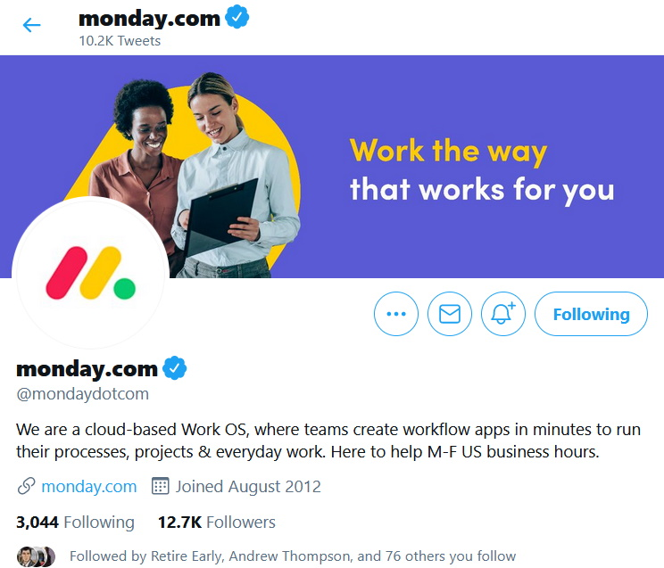 Monday.com social media profile