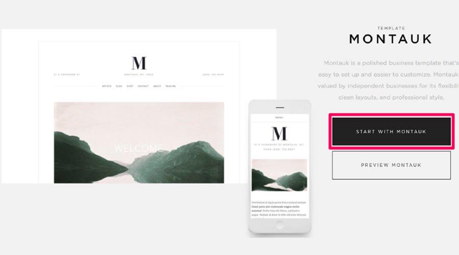 Um die Vorlage Montauk für Ihre Site zu verwenden, gehen Sie zu Business> Montauk.