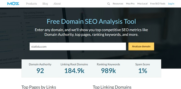 Moz Domain SEO Analyse