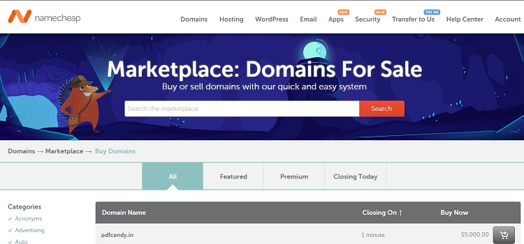 NameCheap Marketplace - Buy or sell domains at ease.