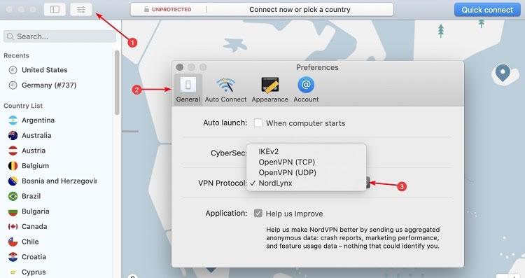 MacOS에서 NordLynx 사용