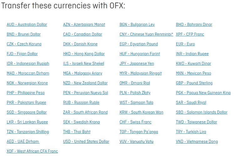 Wide range of currencies supported by OFX