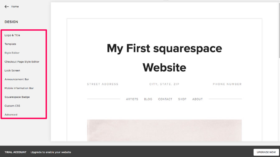 Preview of my first Squarespace website.