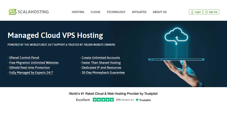 ScalaHosting managed cloud hosting services