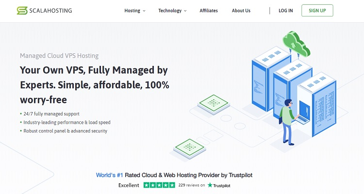 ScalaHosting's Managed Cloud VPS costs just a few dollars over SiteGround shared hosting
