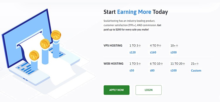 ScalaHosting - Commission rate: $50 - $200 per sale
