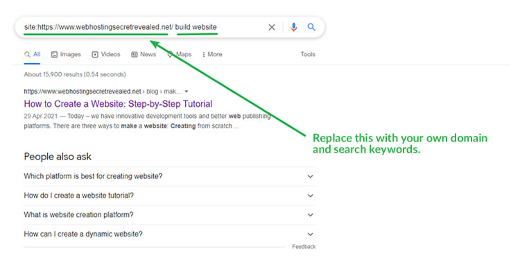 Demo: How to perform a site: search to find out if your website is indexed by Google.