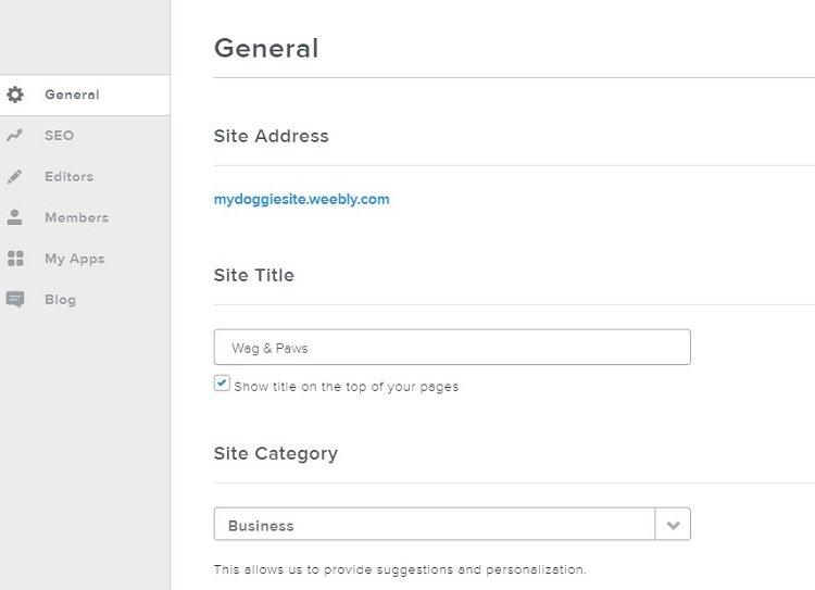 Weebly basic site setting