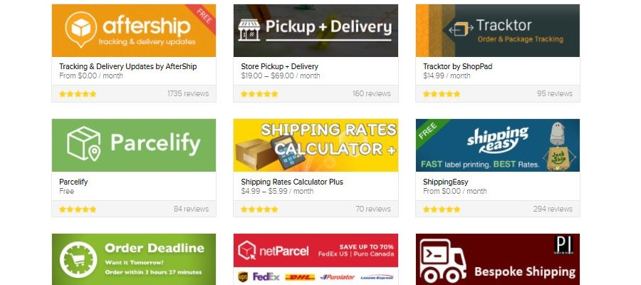 Shopify app for shipping