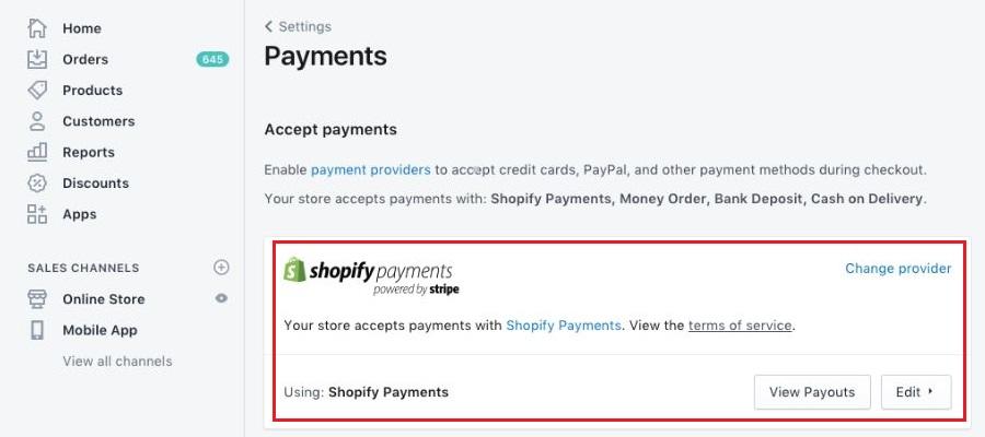 Shopifyの支払い