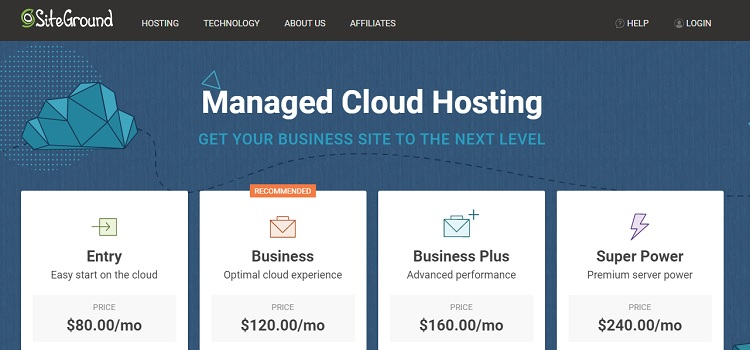 Hosting su cloud gestito da SiteGround