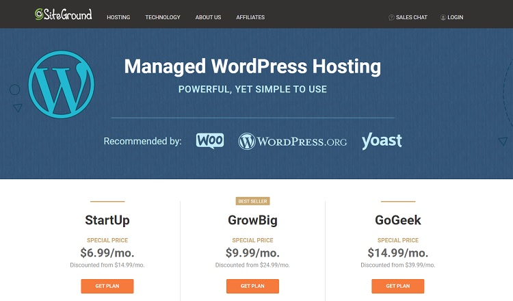 Hosting di wordpress gestito da SiteGround