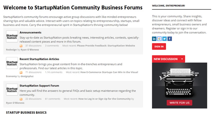 Forum Example - Startup Nation