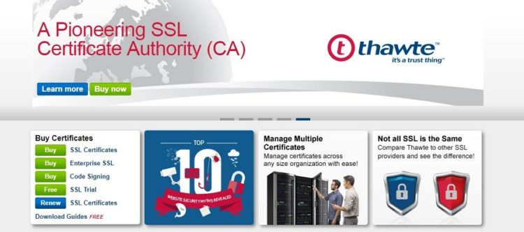 Thawte SSL-beveiligingsoplossings