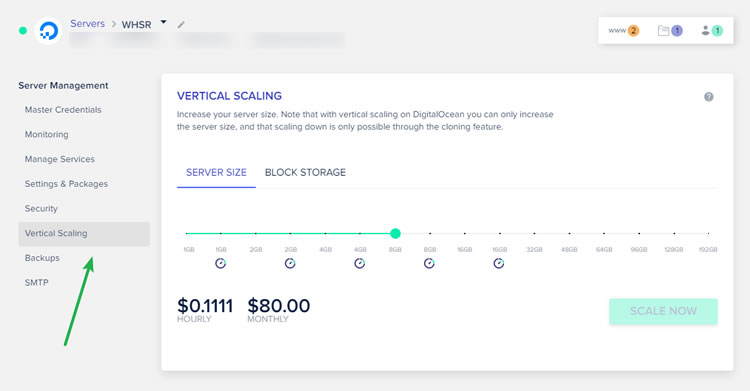 vertical scaling at cloudways