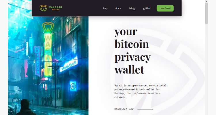 Dunkle Web-Website - Wasabi Wallet